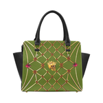 Skull & Honeycomb- Classic French Gothic Satchel Handbag in Bold Olive | Le Leanian™