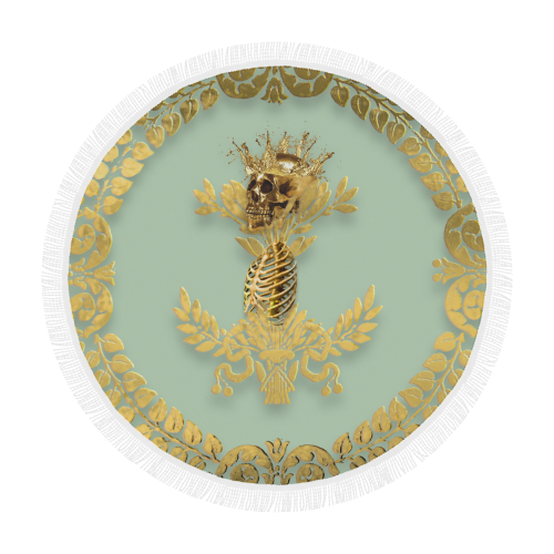 Circular BEACH THROW-Gold SKULL GOLD RIBS-GOLD WREATH- in Color PASTEL BLUE