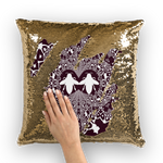 Gold Sequin Baroque Honey BEE PATTERN-Pillow Case-Throw Pillow-Color EGGPLANT WINE, WINE RED & WHITE