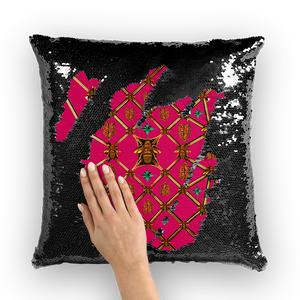 Bee Divergence Gilded Ribs & Jade Stars- French Gothic Sequin Pillowcase or Throw Pillow in Bold Fuchsia | Le Leanian™