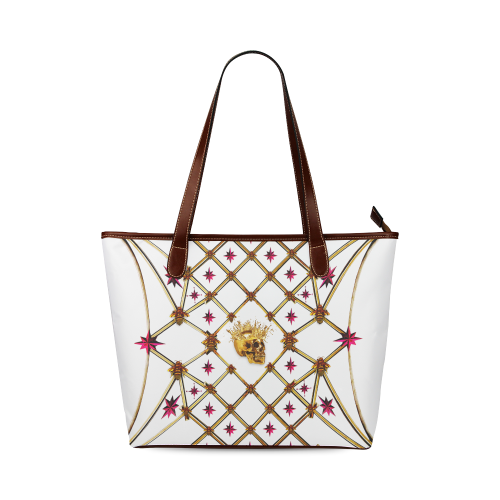 Skull and Magenta Stars-Honey Bee Pattern- Classic Shoulder Tote in Color White