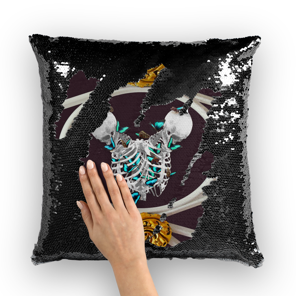 Versailles Gilded Skull Divergence Teal Whispers- French Gothic Sequin Pillowcase or Throw Pillow in Muted Eggplant Wine | Le Leanian™
