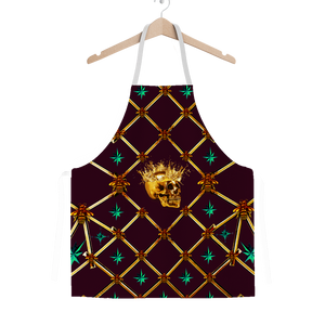 Gold Skull and Honey Bee- Jade Green Stars- Classic Apron in Wine Red- Eggplant Wine- Red- Purple