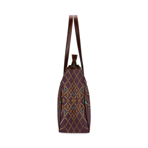 Gilded Bees & Ribs- Classic French Gothic Upscale Tote Bag in Eggplant Wine | Le Leanian™