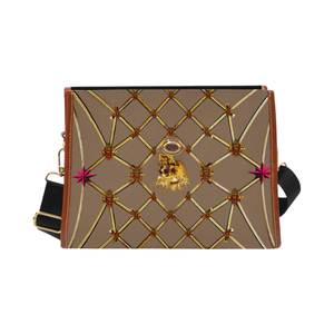 Skull & Magenta Stars- Classic French Gothic Mini Brief Handbag in Neutral Camel | Le Leanian™