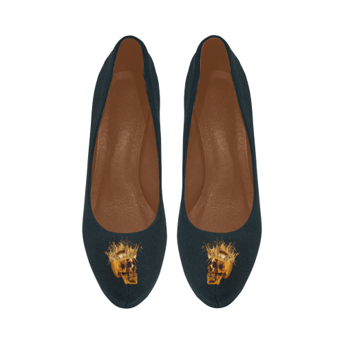 Navy Skull and Crucifix Women's High Heel Shoes.