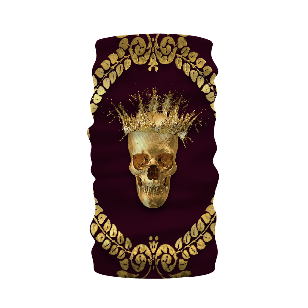Morf SCARF- GOLD SKULL CROWN-GOLD WREATH-Color EGGPLANT WINE, WINE RED, BURGUNDY, PURPLE