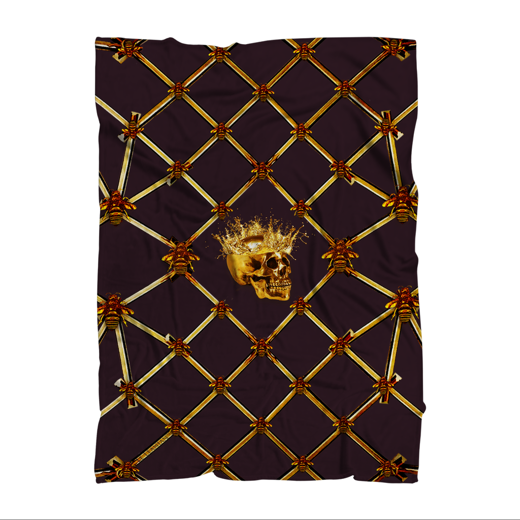 Skull Gilded Honeycomb & Jade Star- Classic French Gothic Fleece Blanket in Muted Eggplant Wine | Le Leanian™