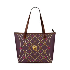 Skull and Magenta Stars-Honey Bee Pattern- Classic Shoulder Tote in Color Eggplant Wine, Wine Red, Eggplant, Purple