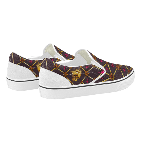 Skull & Magenta Stars- Women's French Gothic Slip-On Sneakers in Muted Eggplant | Le Leanian™