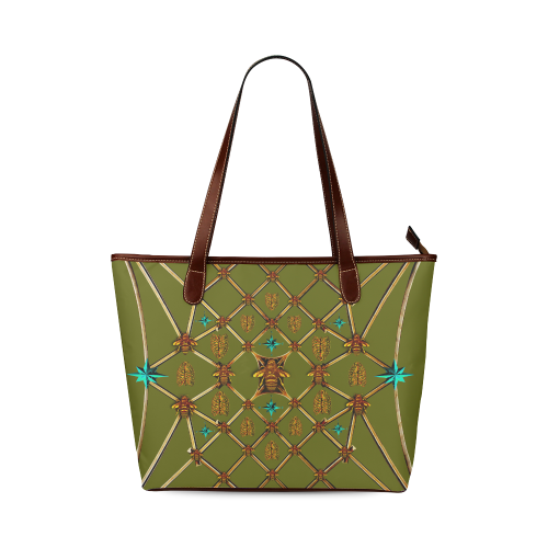 Women's Honey Bee, Ribs, Blue Star Pattern- Shoulder Tote in Color Olive GREEN