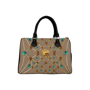 Skull & Teal Stars- French Gothic Boston Handbag in Neutral Camel | Le Leanian™