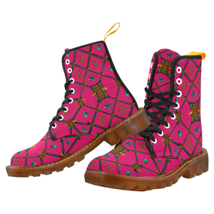 Women's Marten Style Military Boot- BEE RIBS STAR Pattern-Color FUCHSIA PINK