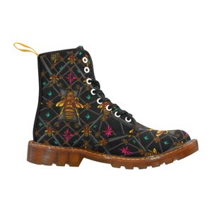 Bee Divergent Abstract- Women's Gothic Combat Style Boots in Back to Black | Le Leanian™