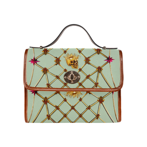 Gold Skull and Honey Bee-Magenta Stars- Clutch Handbag in Color Pastel Blue and Tan