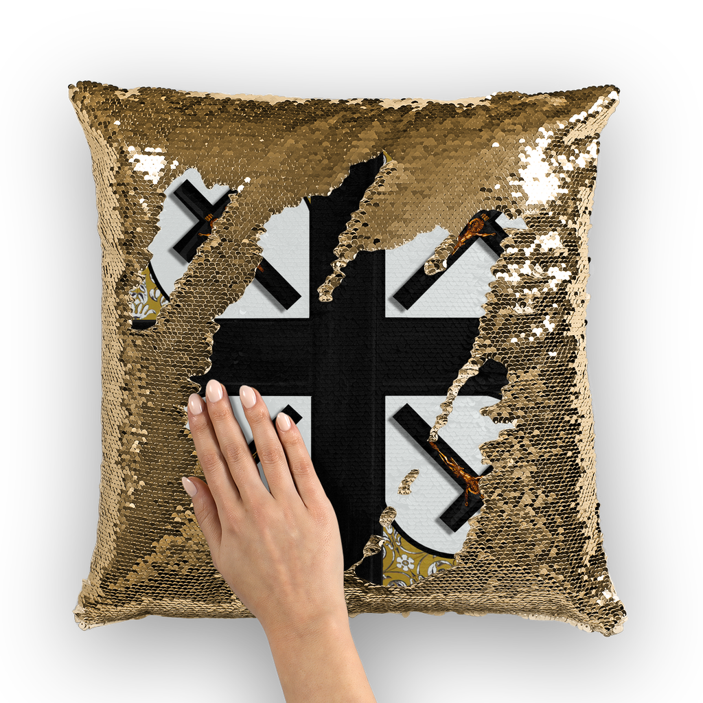 Crossroad Crucifix Gothic Sequin Pillowcase-Throw Pillow- Light Gray