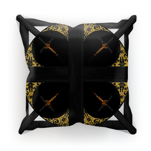 Crossroads Crucifix-French Gothic Satin & Suede Pillowcase in Back to Black | Le Leanian™
