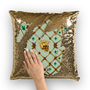French Gothic Honey Bee & Rib Pattern-Sequin Pillowcase & Throw Pillow- Pastel Blue