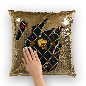 French Gothic Honey Bee & Rib Star Pattern-Sequin Pillowcase & Throw Pillow- Navy Blue