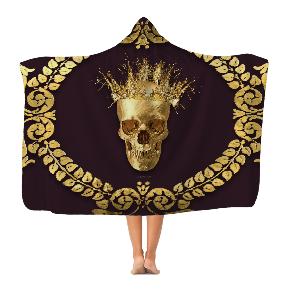 Caesar Gilded Skull- Adult & Youth Classic French Gothic Hooded Fleece Blanket in Muted Eggplant Wine | Le Leanian™