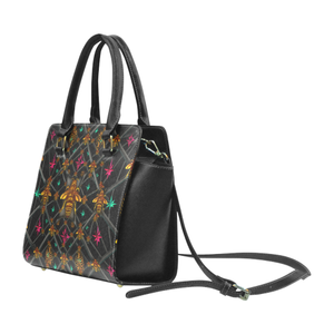 Bee Divergent Abstract- Classic French Gothic Riveted Satchel Handbag in Back to Black | Le Leanian™