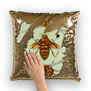Versailles Queen Bee -French Gothic Sequin Pillow Case Throw Pillow- Pastel Green