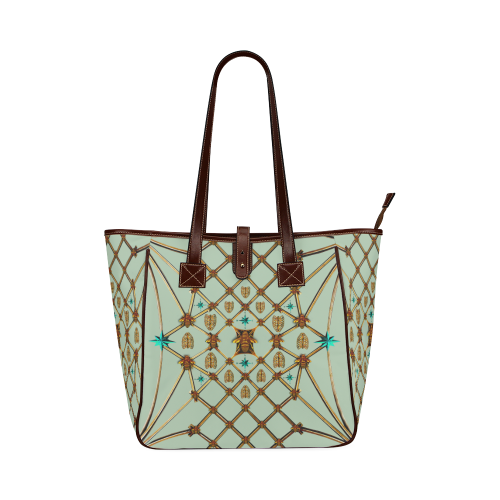 Honey Bee and Ribs Pattern- Classic Shoulder Tote in Color Pastel Blue