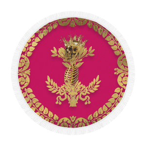 Circular BEACH THROW-Gold SKULL GOLD RIBS-GOLD WREATH- in Color FUCHSIA, HOT PINK, PINK