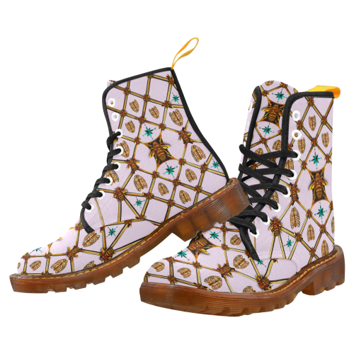 Women's Bee-Ribs-Teal Stars Pattern- Military Marten Boots color LAVENDER, Pastel, PINK
