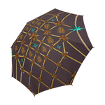 Bee Divergence Gilded Ribs & Teal Stars- Semi & Auto Foldable French Gothic Umbrella in Muted Eggplant Wine | Le Leanian™
