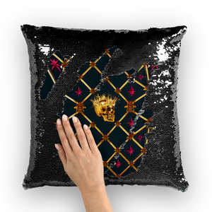 Golden Skull & Magenta Stars- French Gothic Sequin Pillowcase or Throw Pillow in Midnight Teal | Le Leanian™