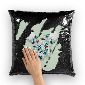 Versailles Whispers Teal Duality- French Gothic Sequin Pillowcase or Throw Pillow in Pastel | Le Leanian™