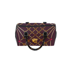 Skull & Honeycomb- French Gothic Boston Handbag in Eggplant Wine | Le Leanian™