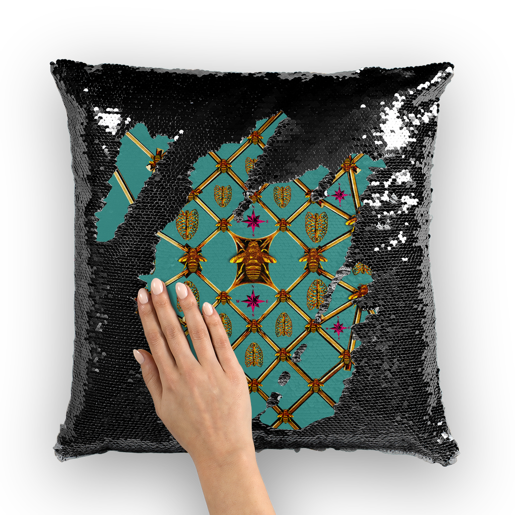 Bee Divergence Gilded Ribs & Magenta Stars- French Gothic Sequin Pillowcase or Throw Pillow in Jade Teal | Le Leanian™