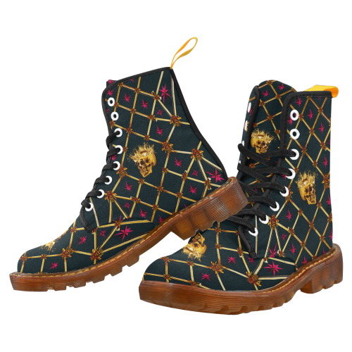 Women's Gold Skull and Magenta Stars- Marten Boots- Lace-Up Combat Boots in Color Midnight Teal, Navy Blue, Blue