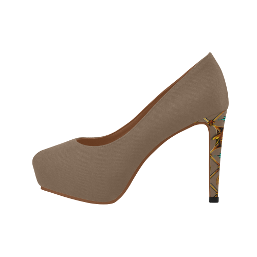 Gilded Bee Hive- Women's French Gothic Heels in Neutral Camel | Le Leanian™