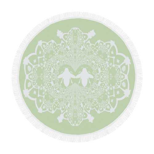 Baroque Hive Relief- Circular French Gothic Medallion Throw in Pale Green | Le Leanian™