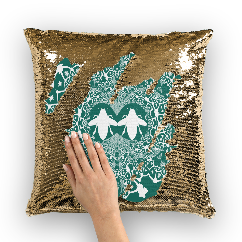 Baroque Hive Relief- French Gothic Sequin Pillowcase or Throw Pillow in Jade | Le Leanian™