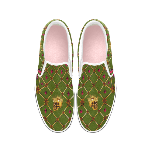 Skull and Magenta Stars-Honey Bee Pattern- Classic Slip-On Sneakers-Vans in Bold Olive Green