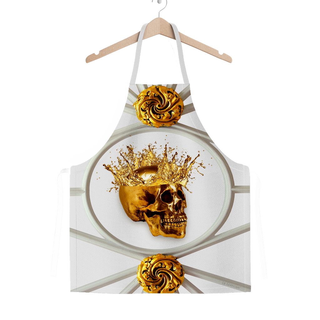 Golden Skull-French Gothic- Chic- Classic Apron in Lightest Gray- Gray