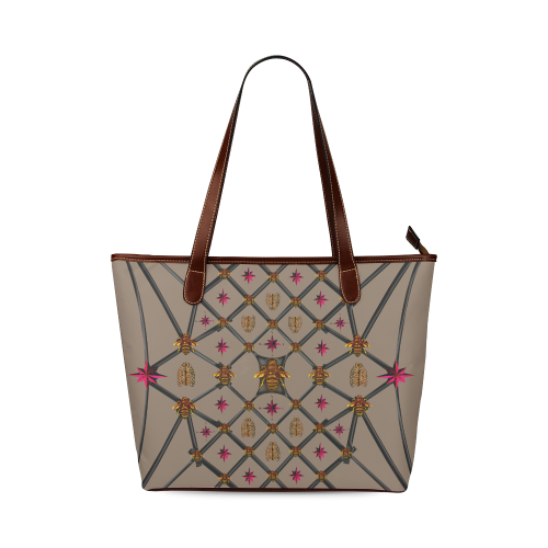 Bee Divergence Dark Ribs & Magenta Stars- Classic French Gothic Tote Bag in Cocoa Clay | Le Leanian™