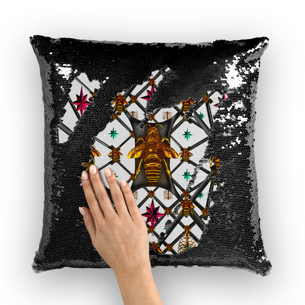 Bee Divergent Abstract- French Gothic Sequin Pillowcase or Throw Pillow in Lightest Gray | Le Leanian™