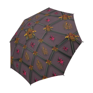 Bee Divergent Ribs & Magenta Stars- Semi Auto Foldable French Gothic Umbrella in Muted Eggplant Wine | Le Leanian™