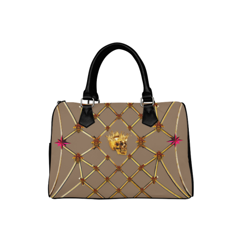 Skull & Magenta Stars- French Gothic Boston Handbag in Neutral Camel | Le Leanian™