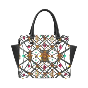 Bee Divergent Abstract- Classic French Gothic Riveted Satchel Handbag in White | Le Leanian™