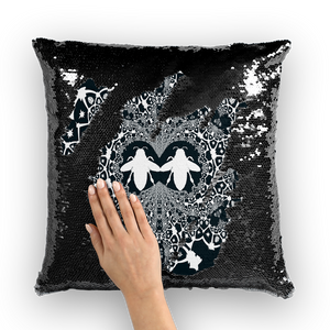 Baroque Hive Relieve- French Gothic Sequin Pillowcase or Throw Pillow in Midnight Teal | Le Leanian™