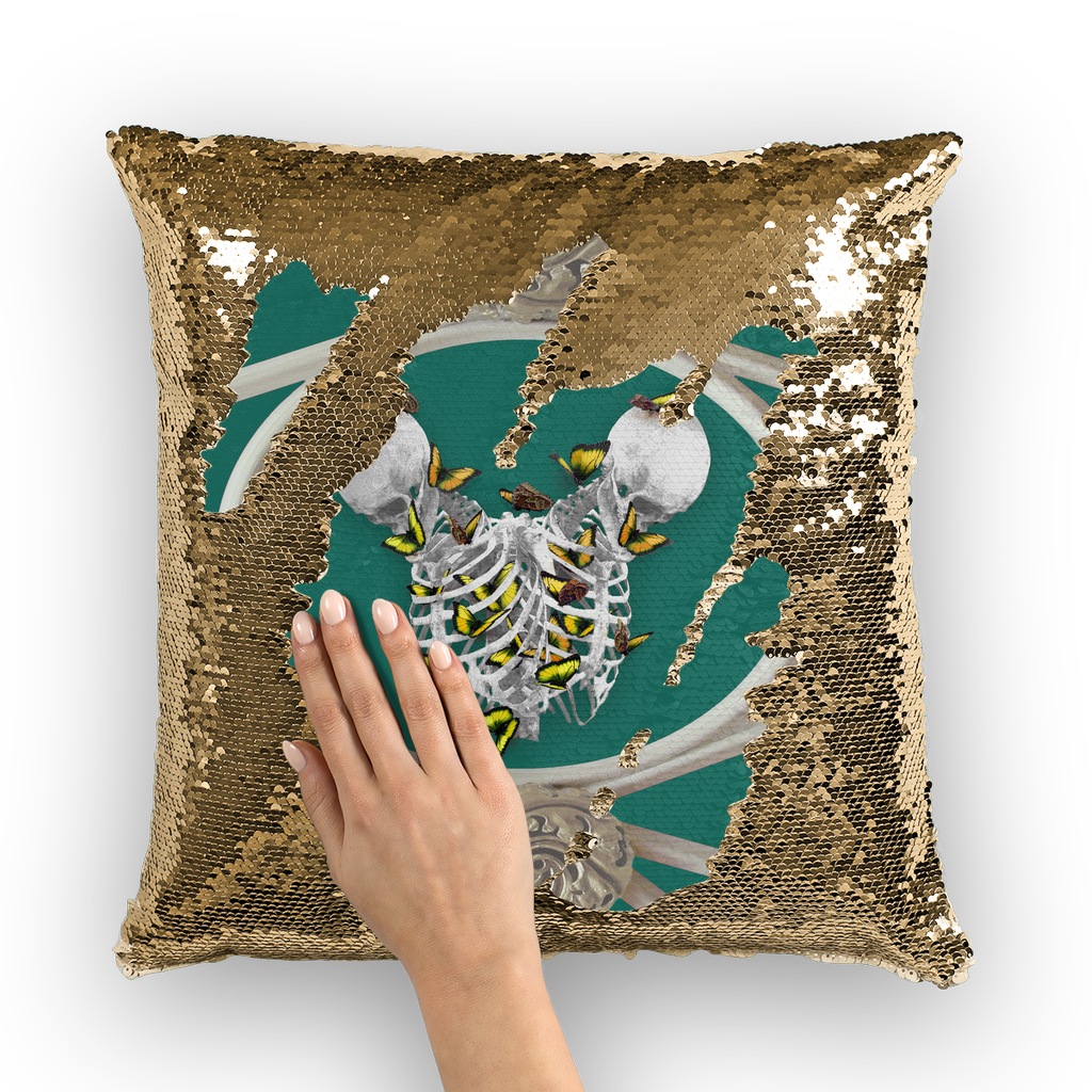 Versailles Siamese Skeletons with Gold Butterfly Rib Cage-Gold Sequin Pillowcase-Jade Green