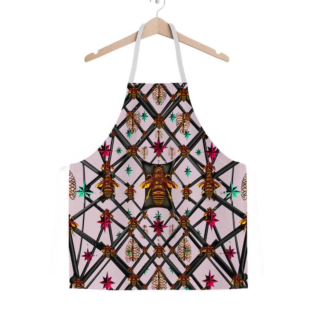 Classic Apron-ABSTRACT MULTI COLOR HONEY BEE PATTERN-Color PASTEL PINK