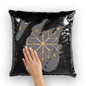 Skull Cathedral- French Gothic Sequin Pillowcase or Throw Pillow in Lavender Steel | Le Leanian™
