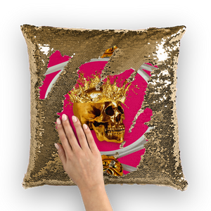 Versailles Golden Skull- French Gothic Sequin Pillowcase or Throw Pillow in Bold Fuchsia | Le Leanian™